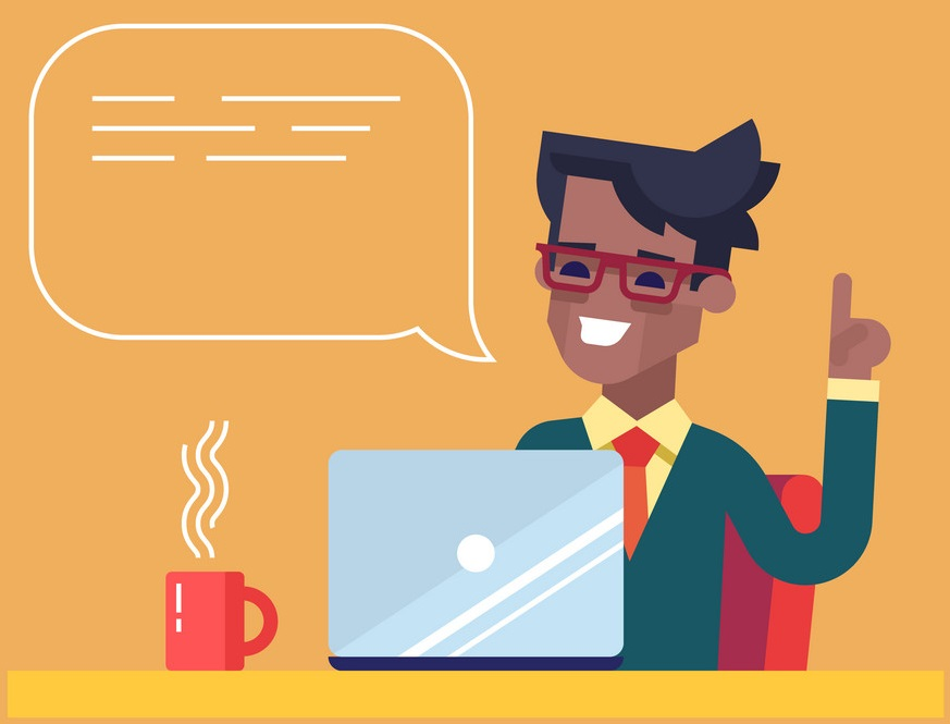 black man working on his laptop and giving advice vector 13668631 - صفحه نخست